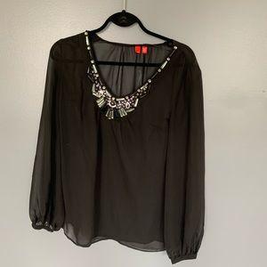 Esprit Jewel Collar Sheer Blouse Black Size M
